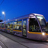 An Alstom Citadis tram sits at Dublin Huston with a Luas Red line service to Tallaght.
