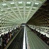 Washington DC Metro. A Red Line train calls at Gallery Pl-Chinatown station.